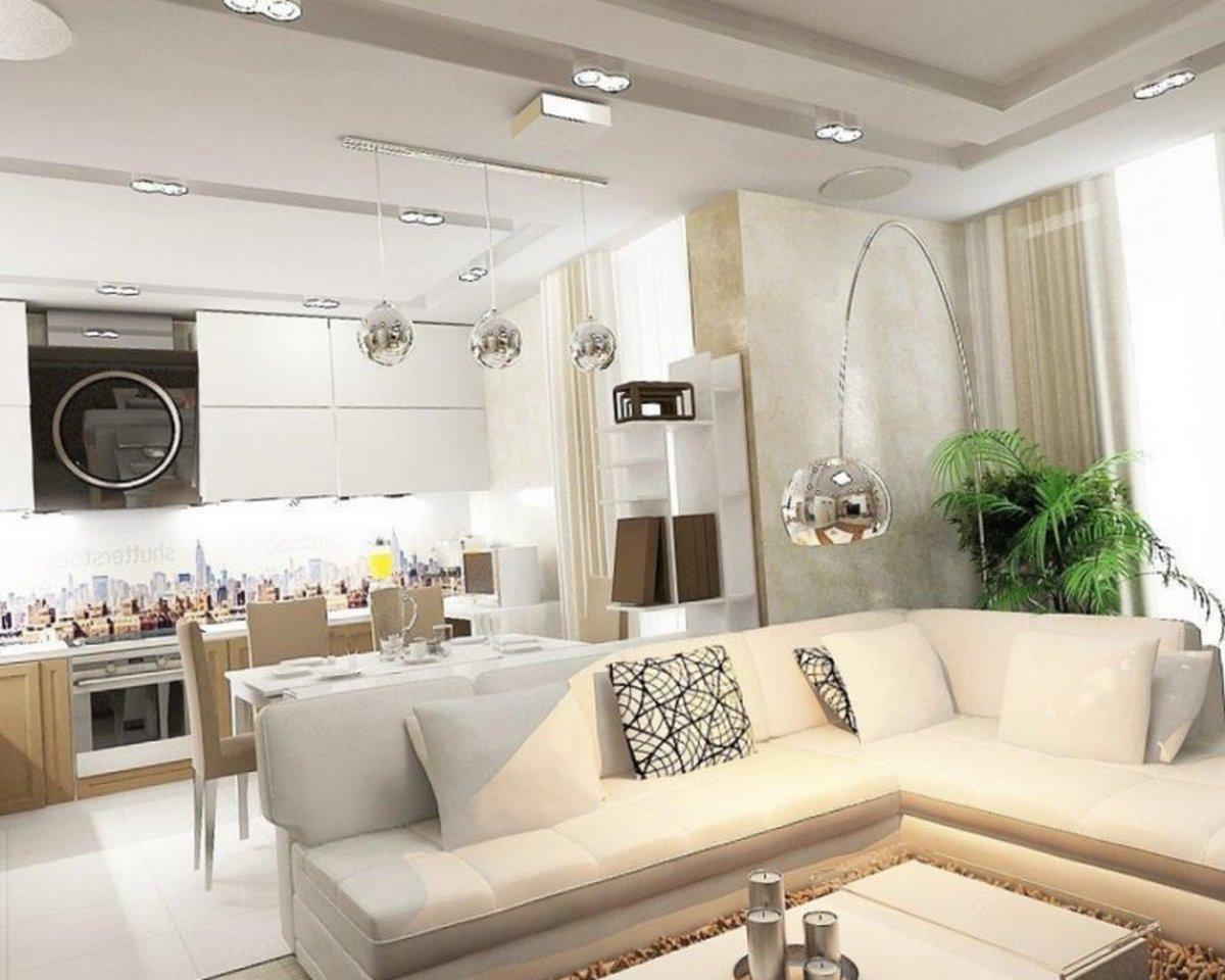 гостиная в частном доме с кухней