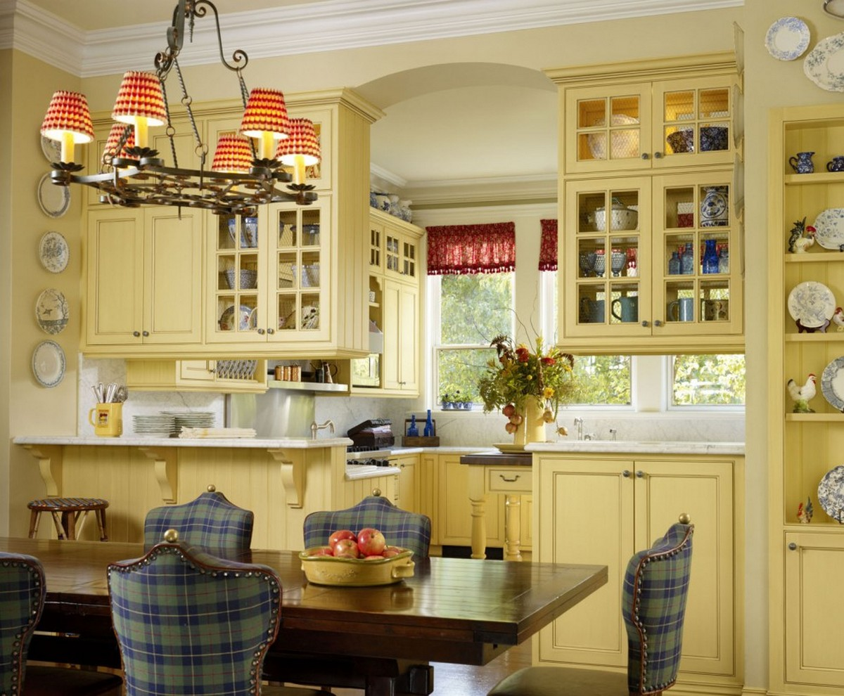 стиль кантри в интерьере люстра на кухне