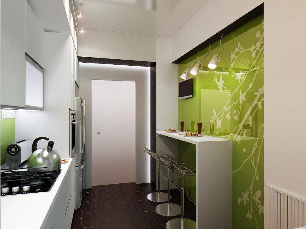 бледно-салатовый дизайн малогабаритной кухни