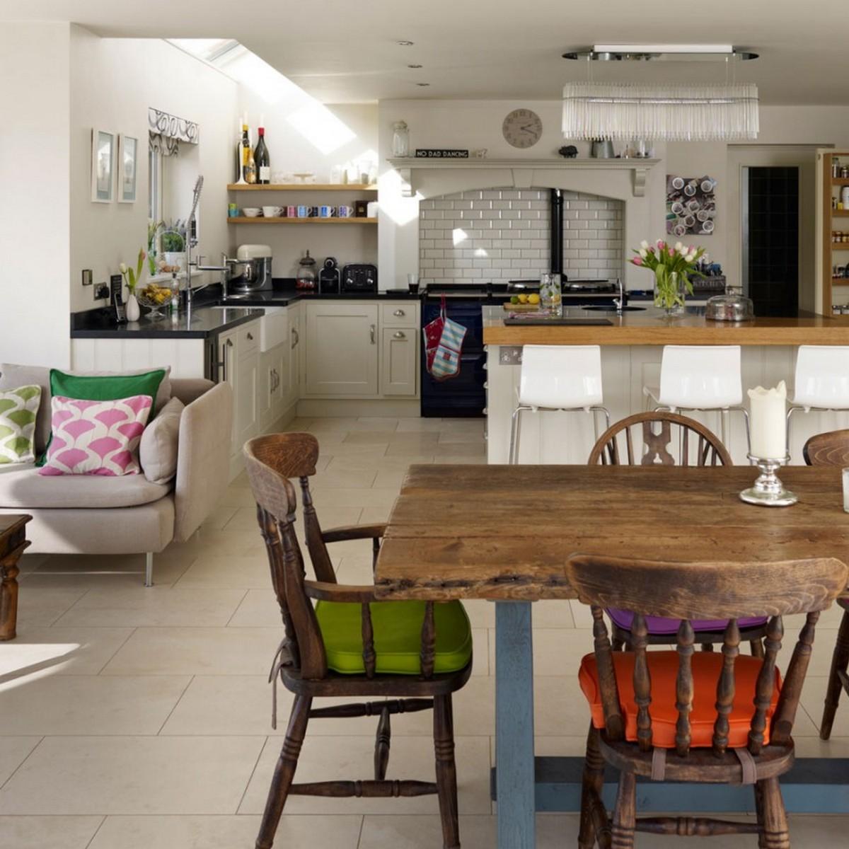 большие кухни в частном доме