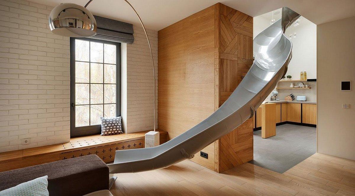 дизайн двухуровневой квартиры горка