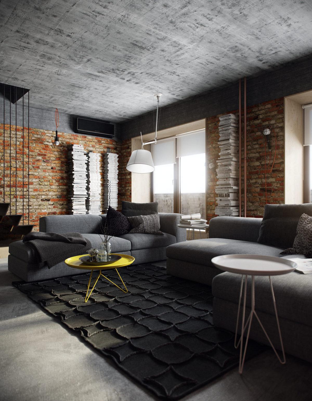 дизайн двухуровневой квартиры в стиле лофт красивая планировка