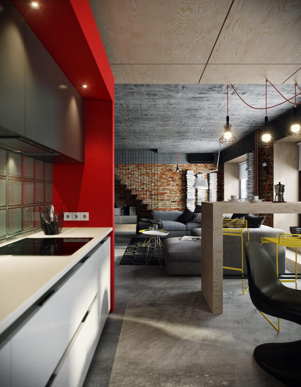 дизайн двухуровневой квартиры в стиле лофт пример дизайна
