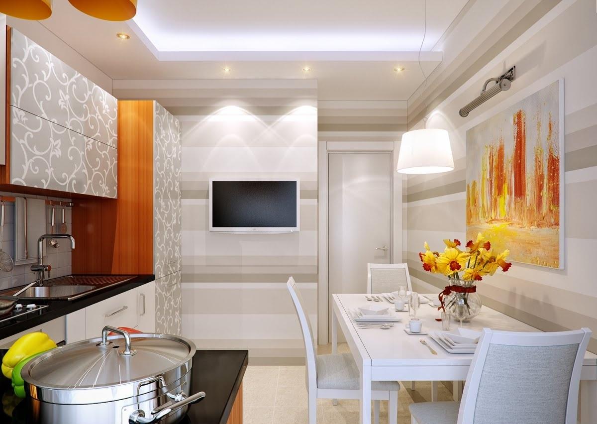 дизайн кухни с телевизором