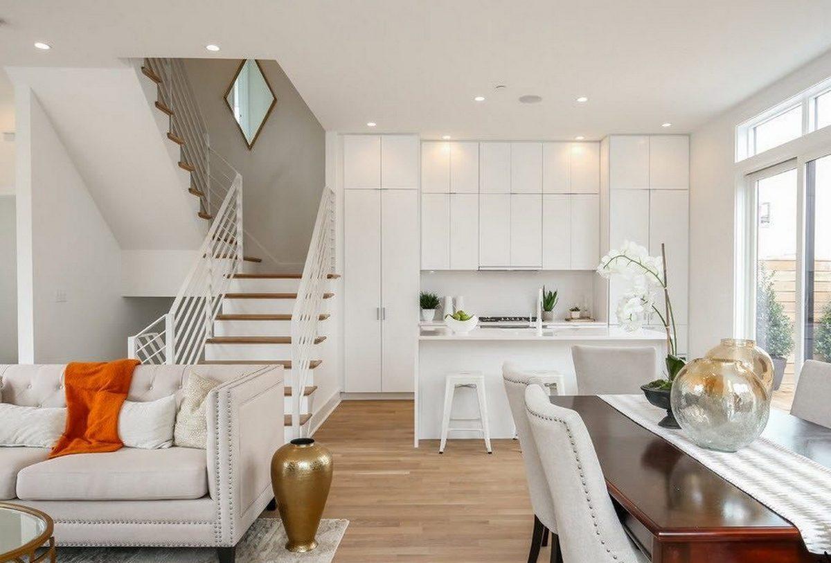 дизайн кухни столовой гостиной в частно доме идеи