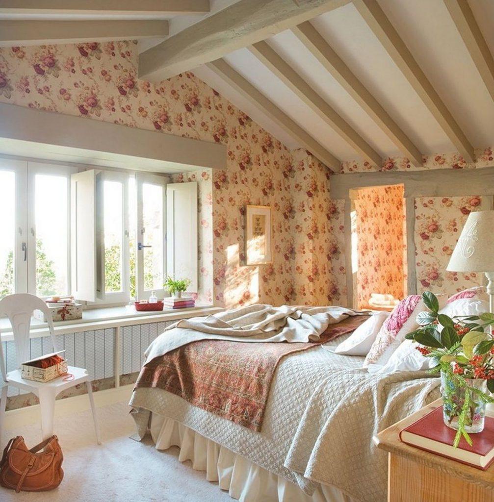 дизайн спальни в стиле кантри особенности фото