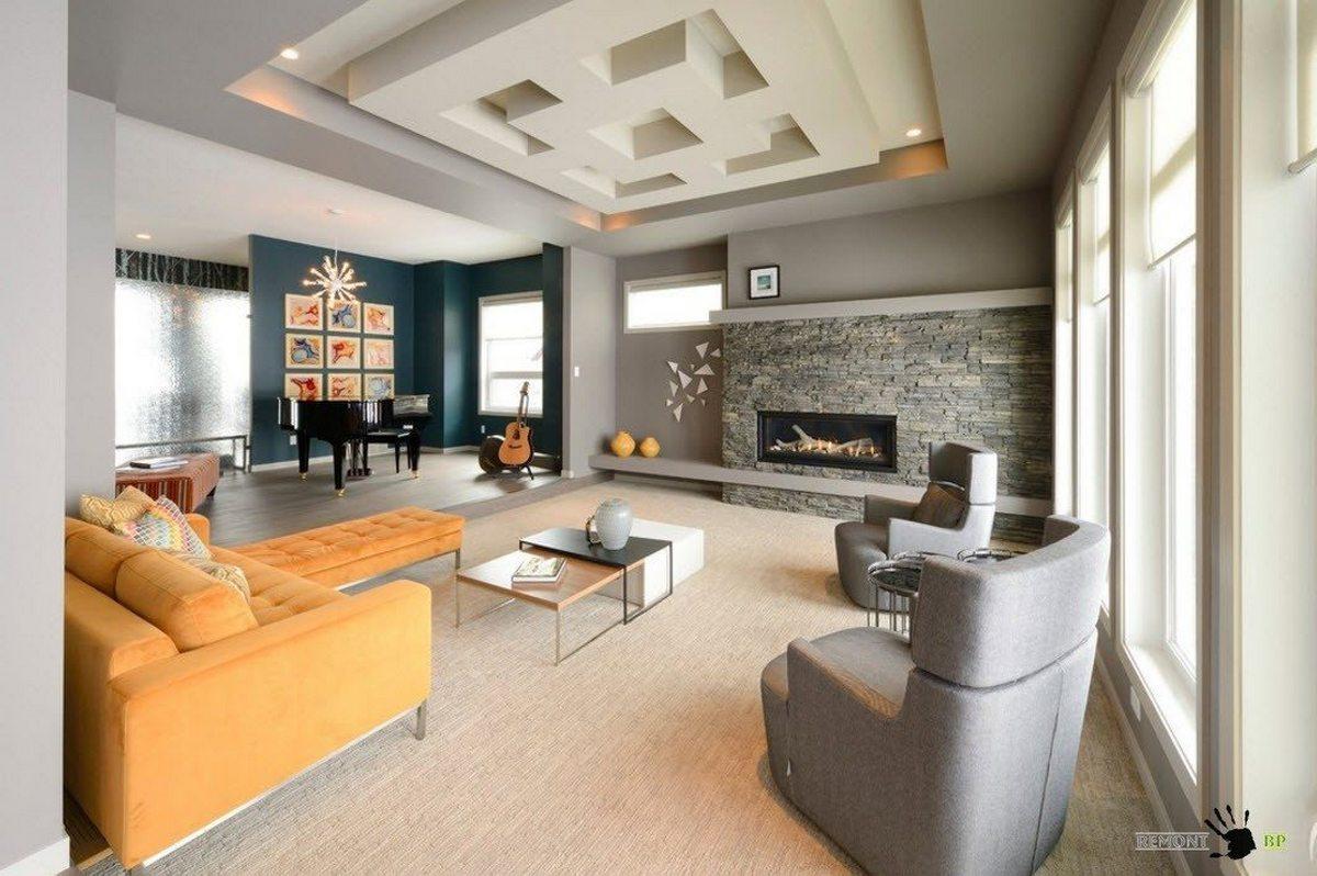 дизайн большого зала в частном доме