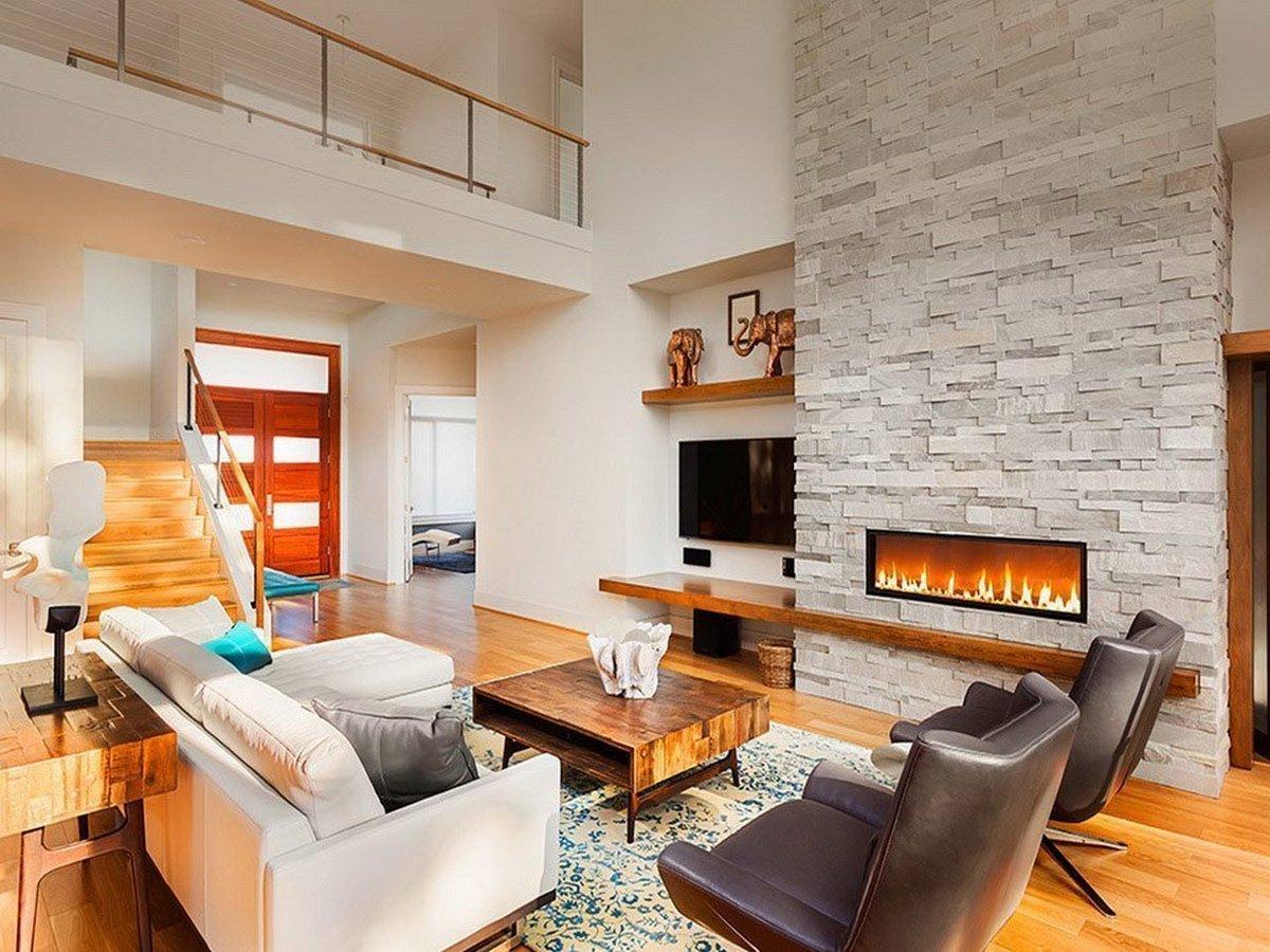 дизайн двухуровневой квартиры с камином