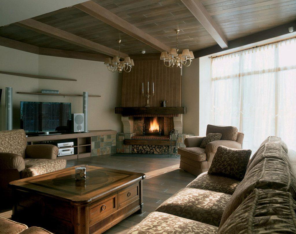 дизайн каминного зала в частном доме