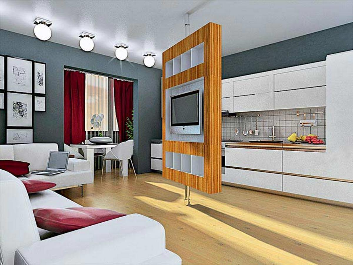 дизайн кухни с диваном и телевизором