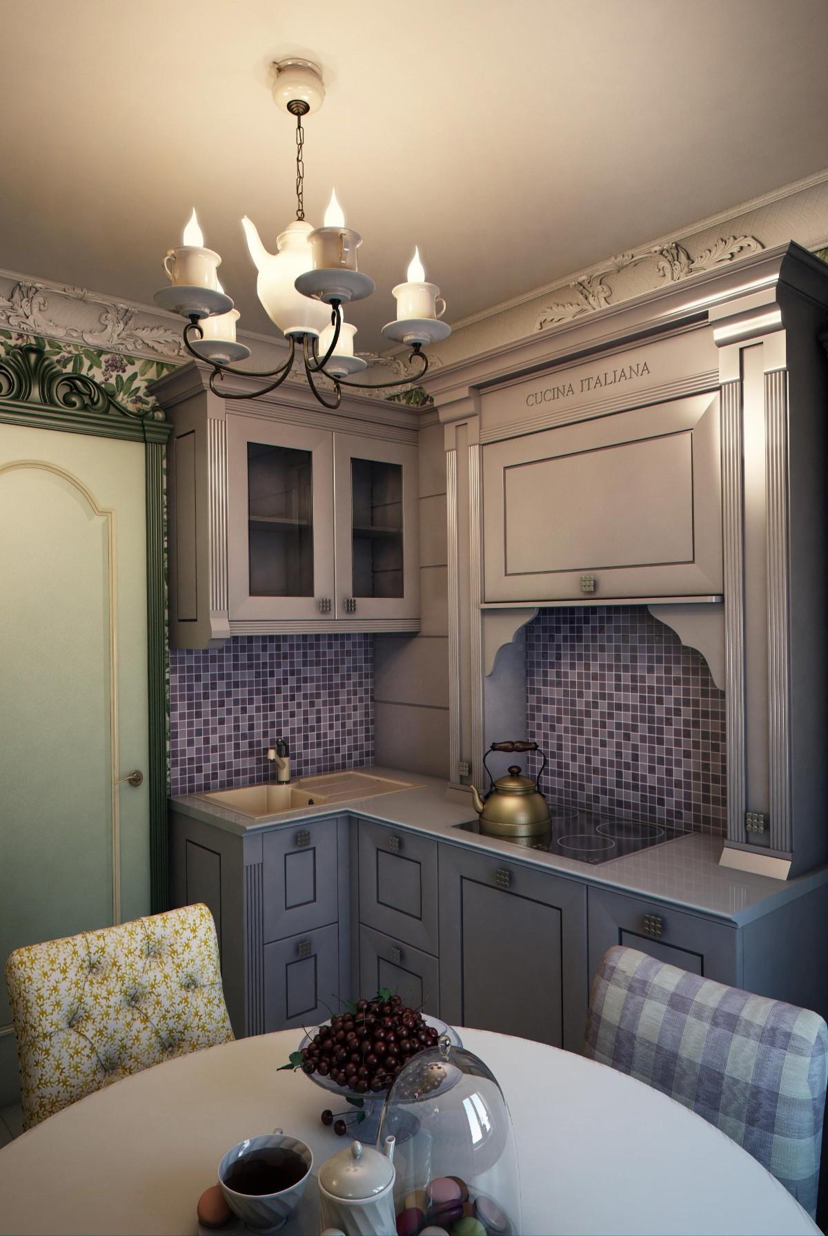 дизайн малогабаритной кухни классический стиль