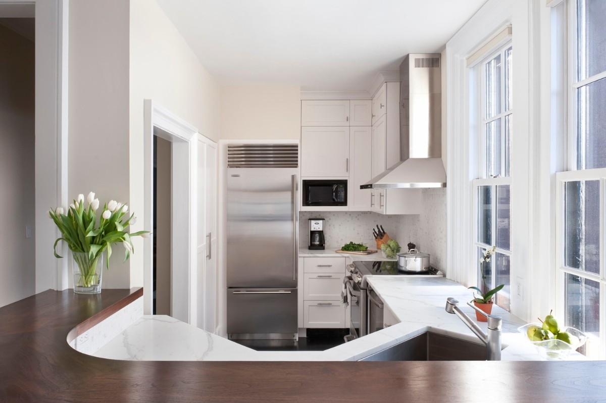 дизайн малогабаритной кухни с открытой планировкой барная стойка