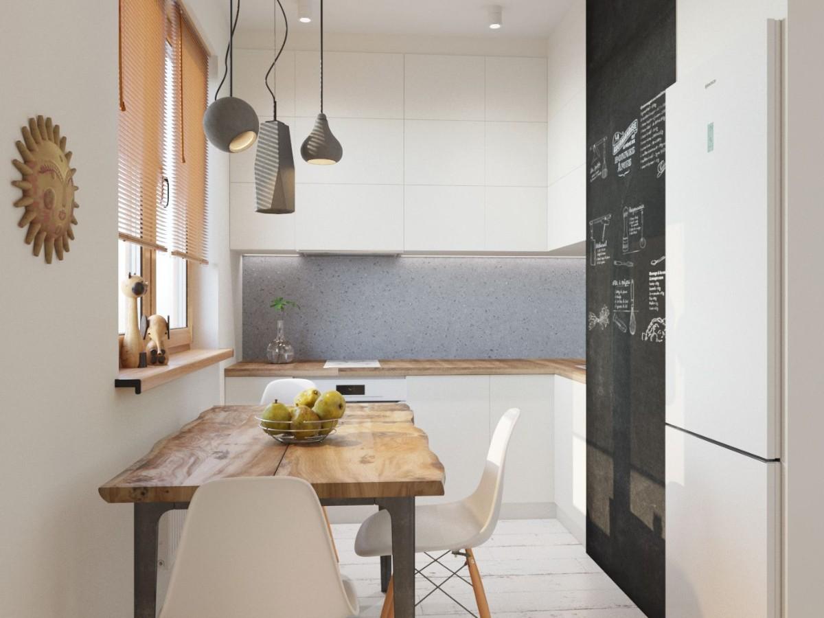 дизайн малогабаритной кухни светлая отделка стен