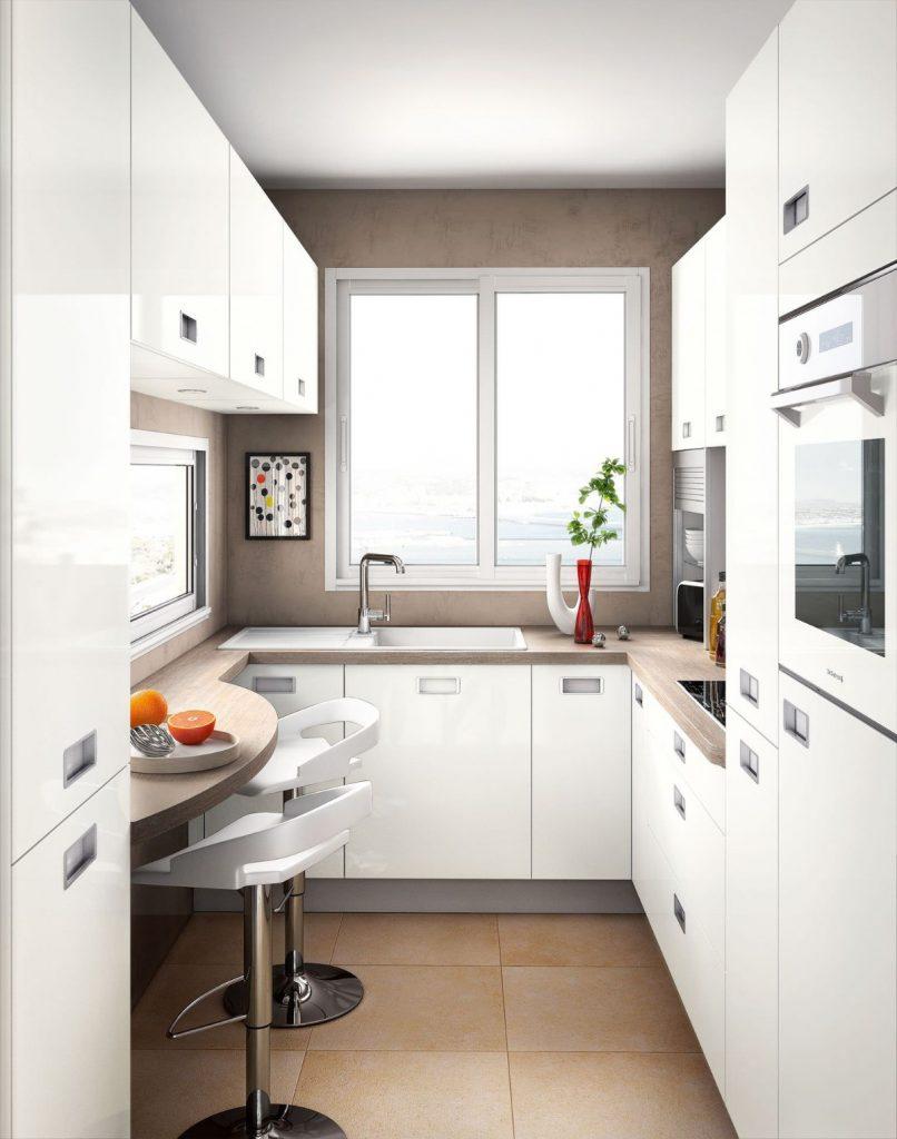 дизайн малогабаритной кухни в белом цвете