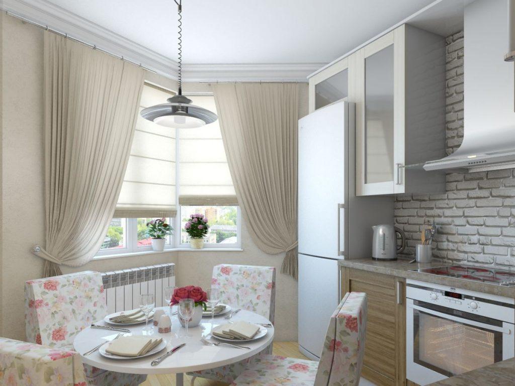 дизайн малогабаритной кухни в бежевом цвете
