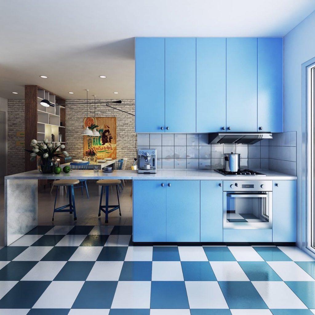 дизайн малогабаритной кухни в студии синий фон