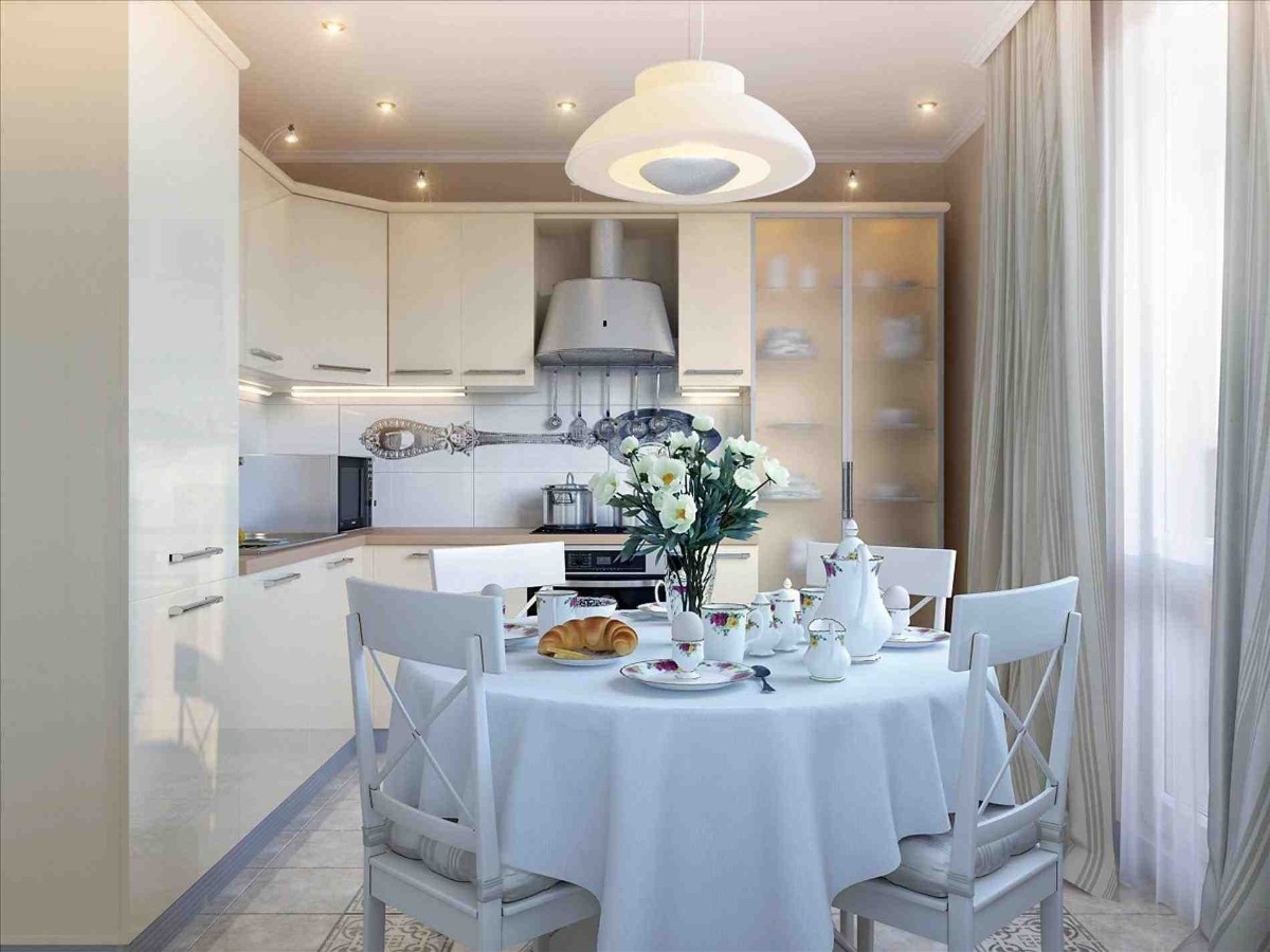дизайн малогабаритной кухни в серых тонах столовая зона