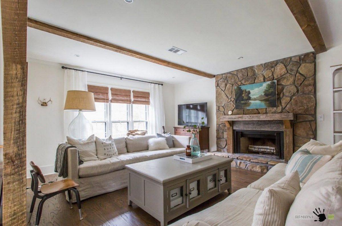 дизайн зала с камином в частном доме