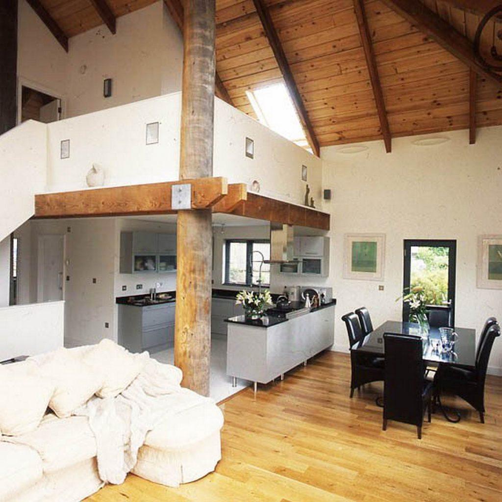 дизайн зала с кухней в частном доме