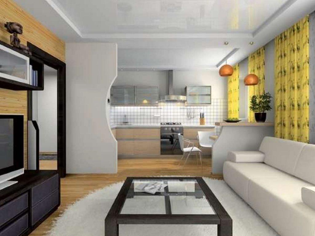 дизайн зала с кухней в частном доме фото