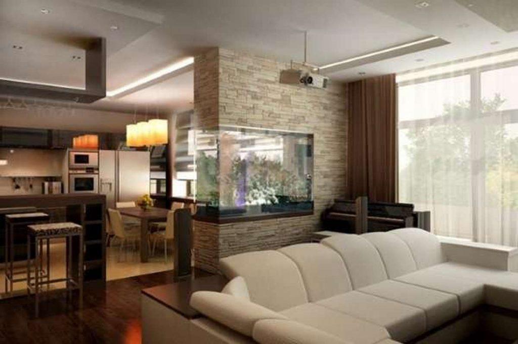 дизайн зала с кухней в частном доме фото пример