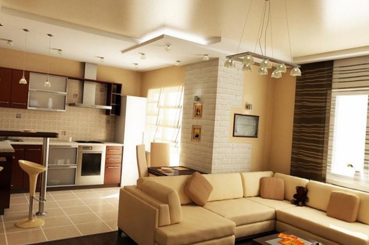 дизайн зала с кухней в частном доме пример