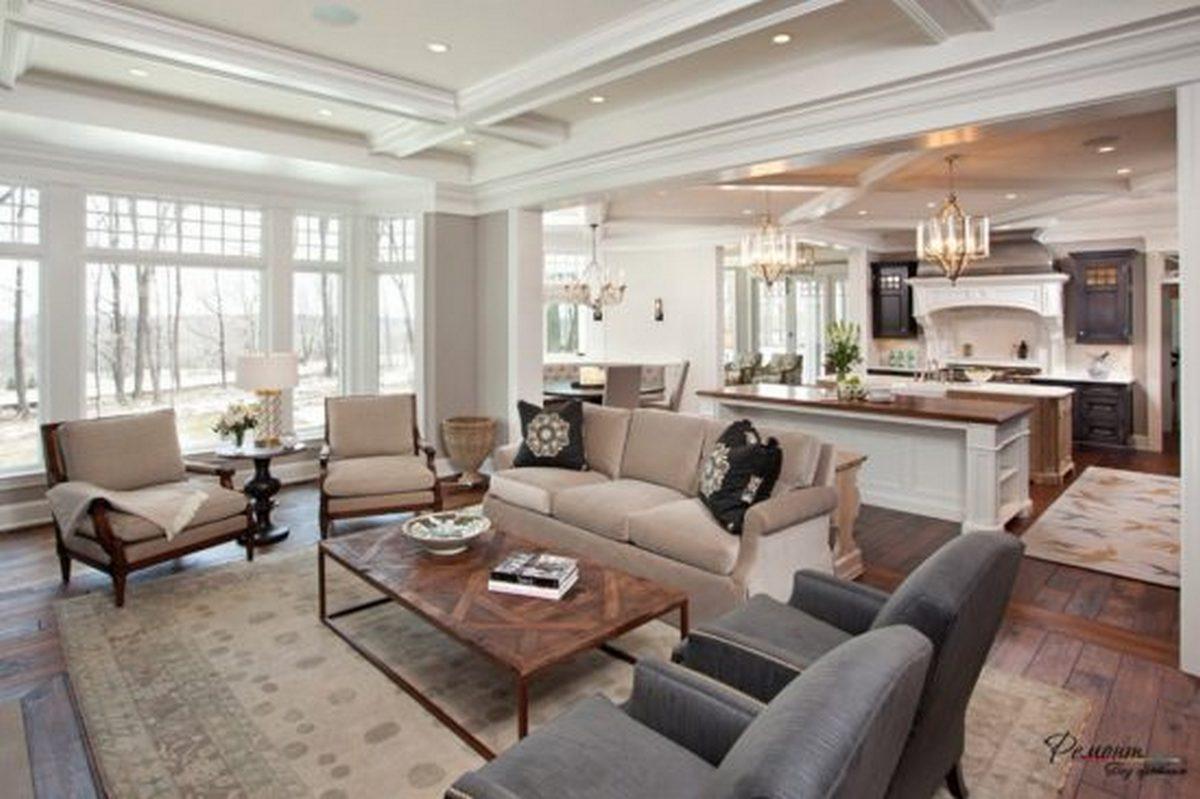 дизайн зала с кухней в частном доме примеры зонирования