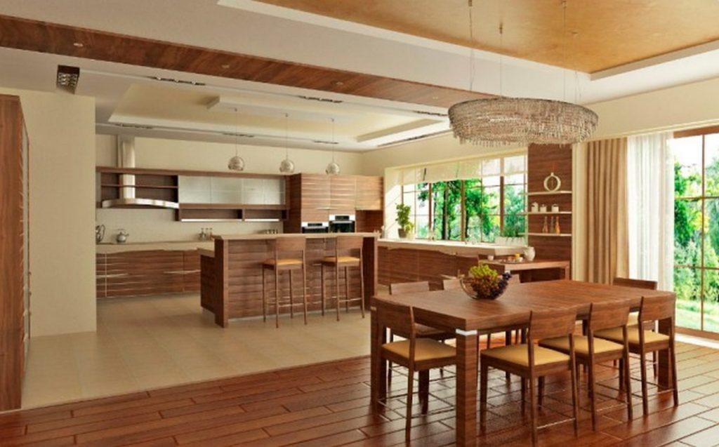 дизайн зала с кухней в частном доме с панорамными окнами