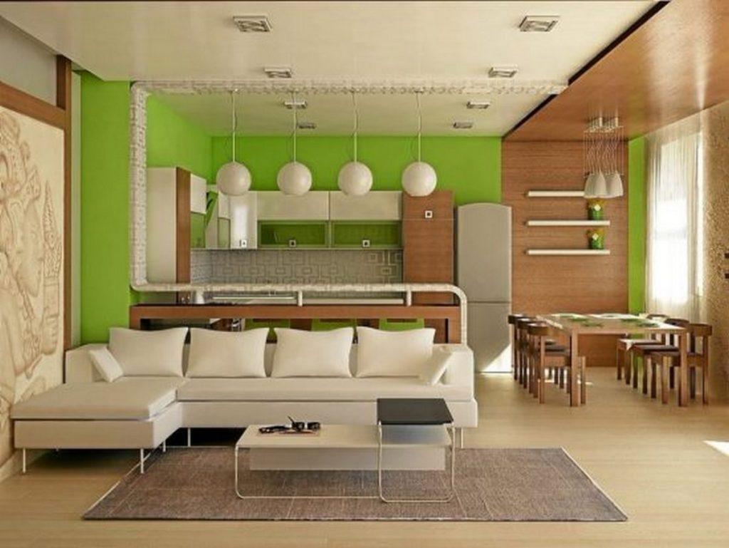 дизайн зала с кухней в частном доме зонирование цветом