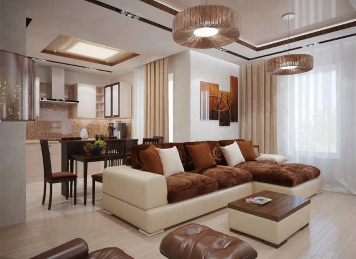 дизайн зала с кухней в частном доме зонирование