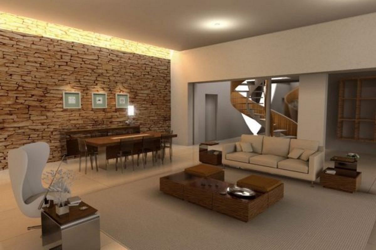 дизайн зала в частном доме фото пример