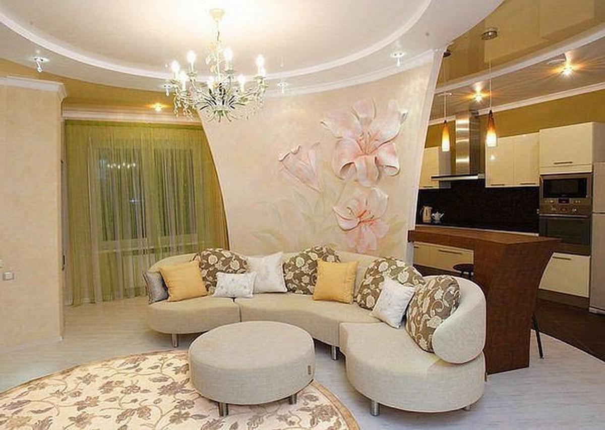 дизайн зала в частном доме обои