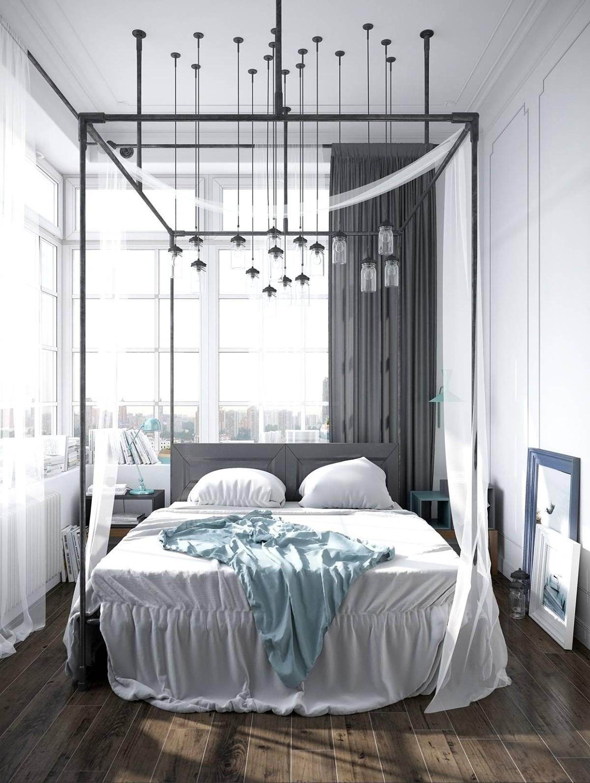 эффектная спальня в чёрно-белом цвете с высоким потолком