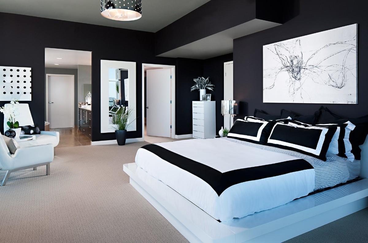 эффектная спальня в чёрно-белом цвете