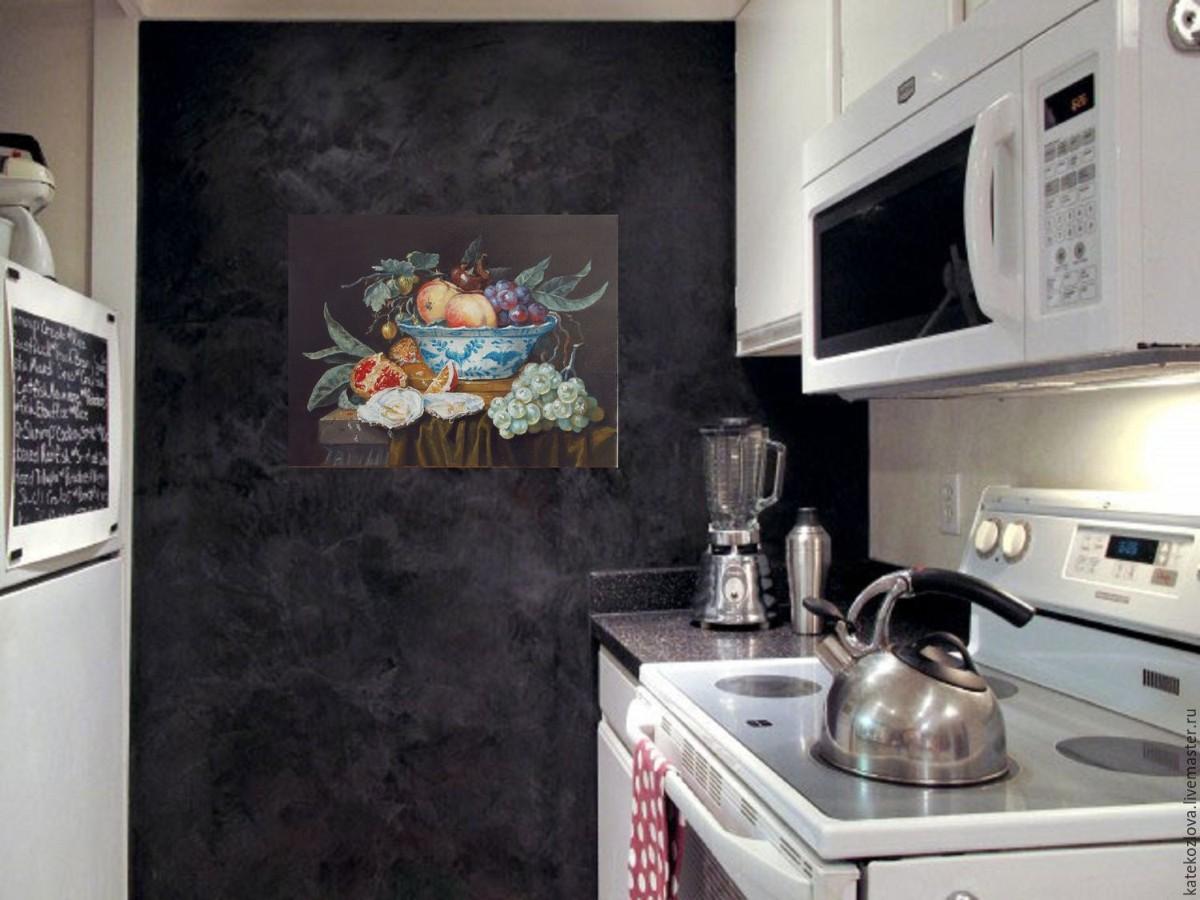 фактурная штукатурка в декоре кухни
