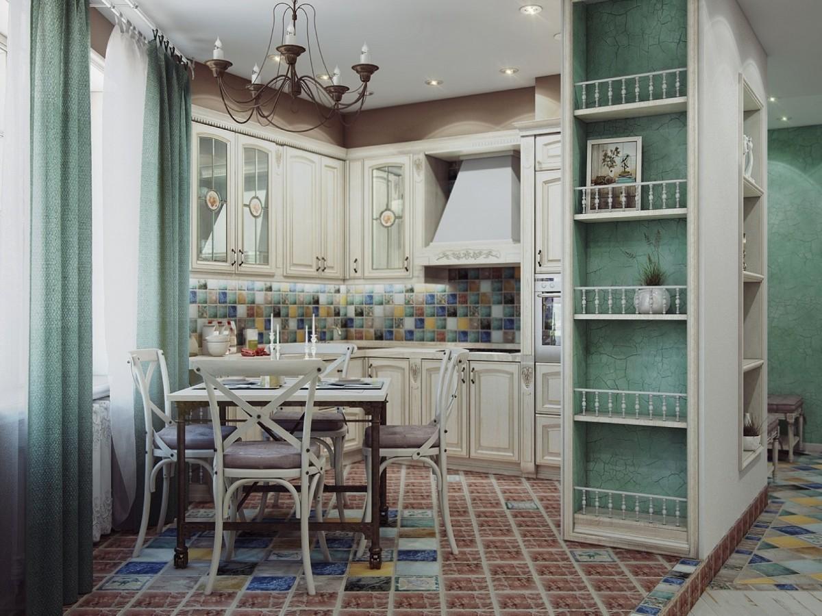 фактурная штукатурка в дизайне классической кухни
