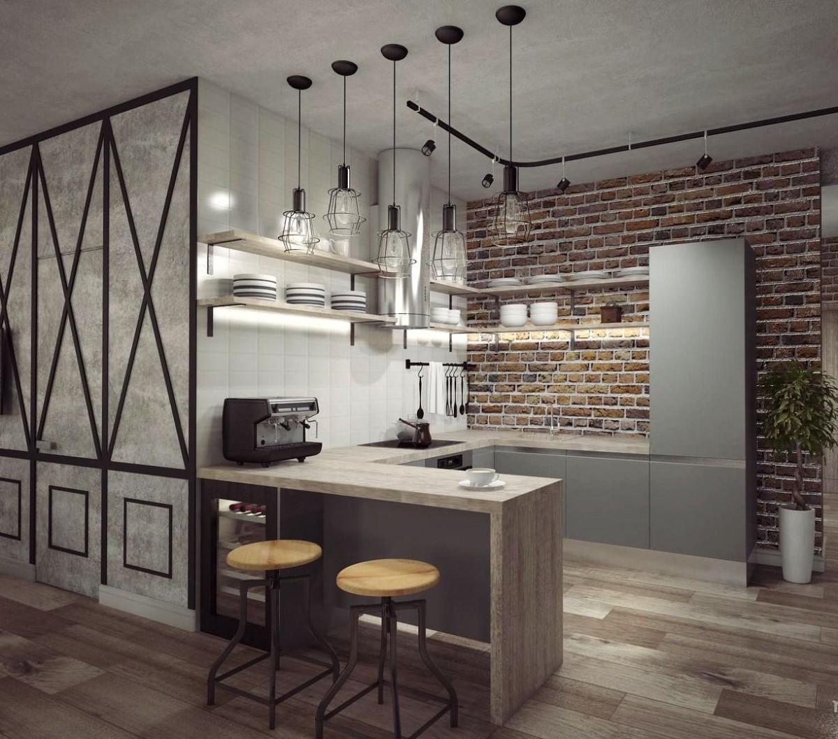 фактурная штукатурка в дизайне кухни студии