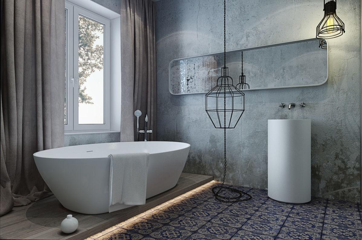 фактурная штукатурка в дизайне серой ванной