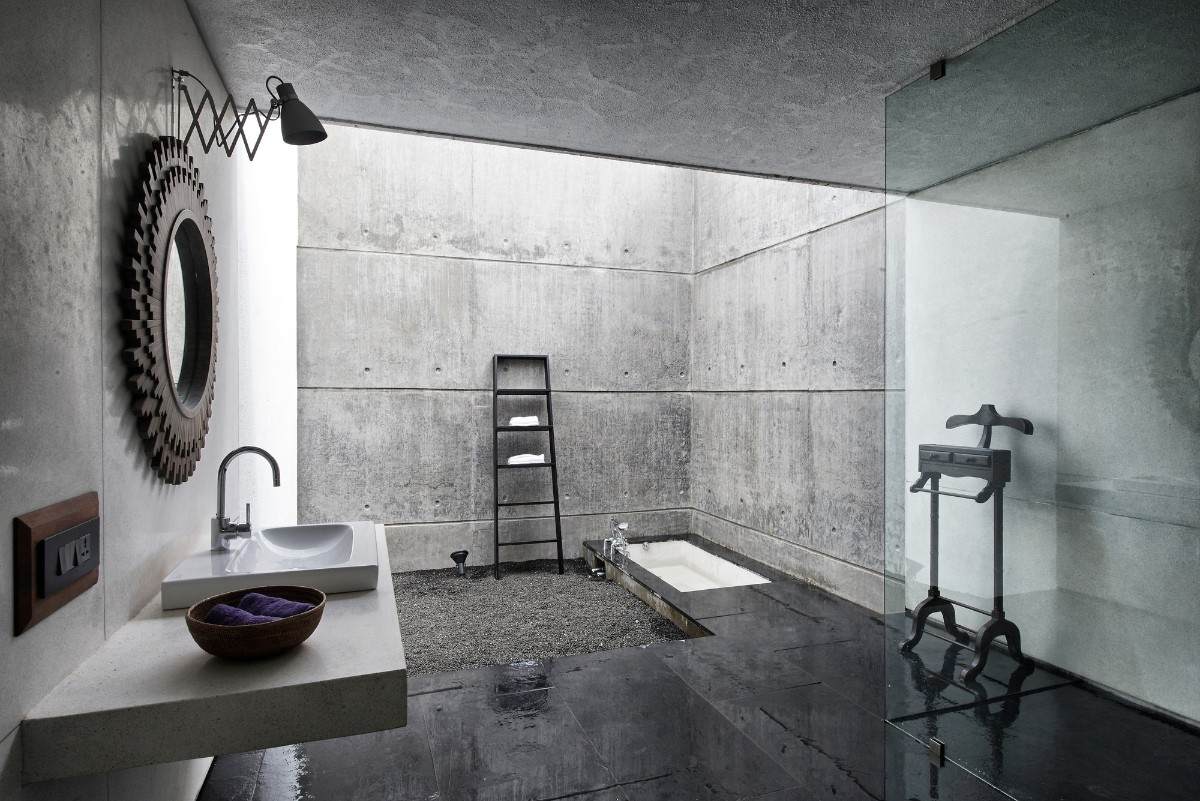 фактурная штукатурка в дизайне ванной