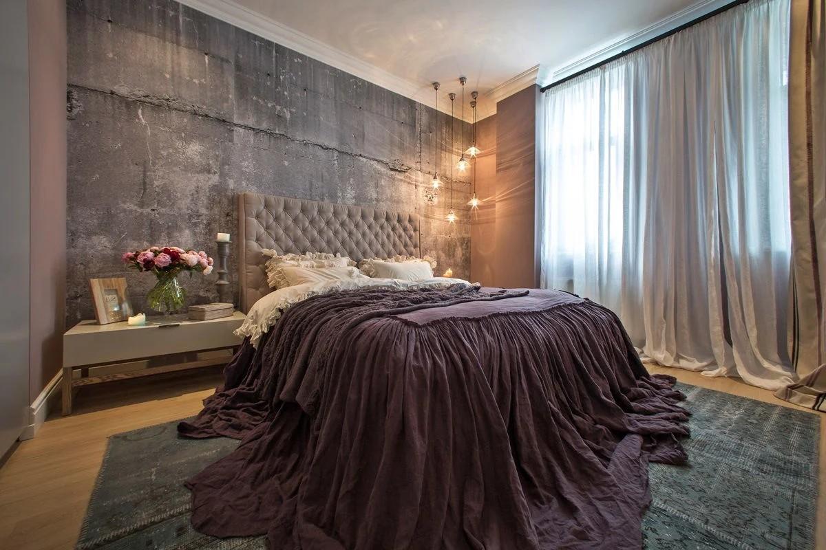 фактурная штукатурка в лофтовом дизайне спальни