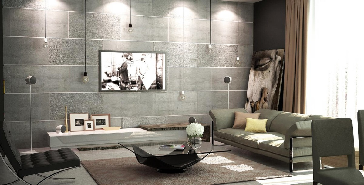 фактурная штукатурка в лофтовом интерьере гостиной фото