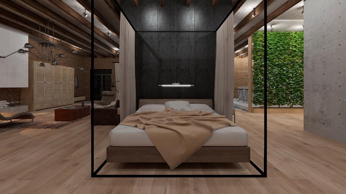 фактурная штукатурка в роскошном просторном интерьере спальни