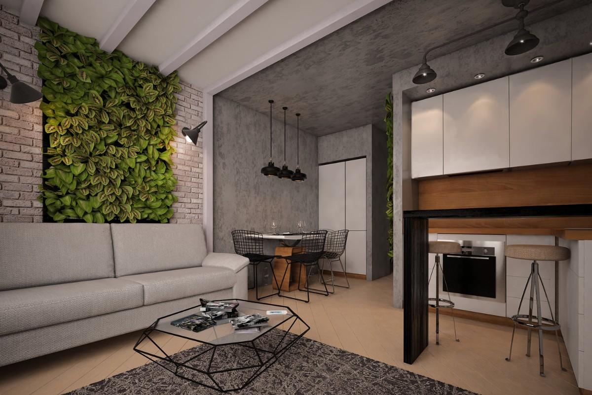 фактурная штукатурка в роскошном просторном интерьере студии