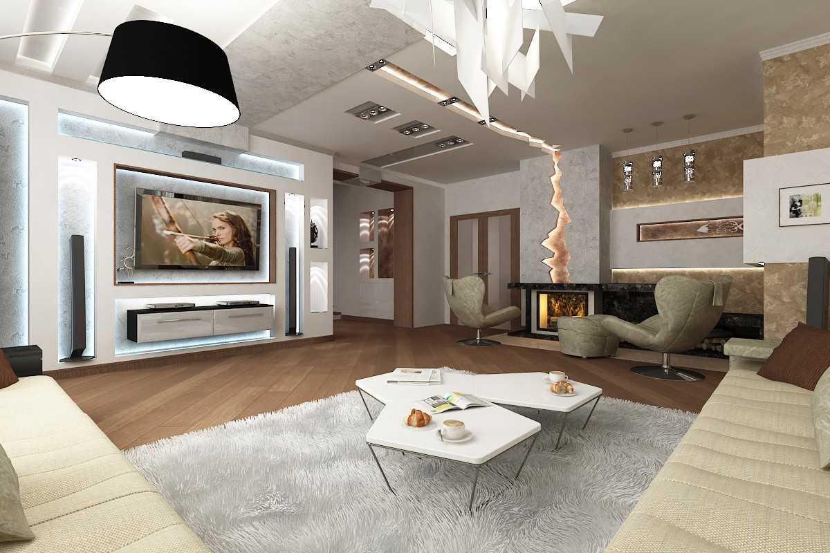 идея яркого дизайна гостиной в частном доме