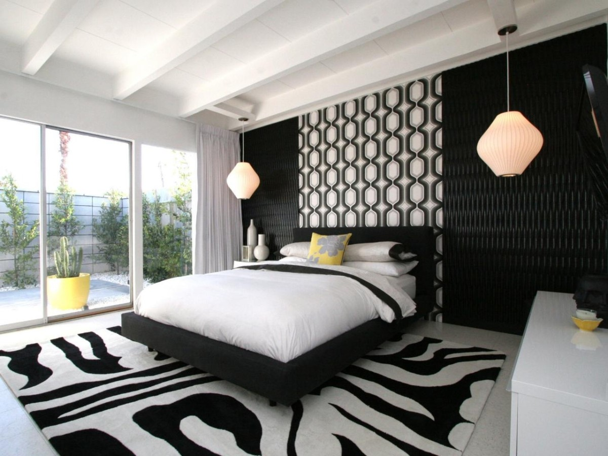 интересная чёрно-белая спальня фото