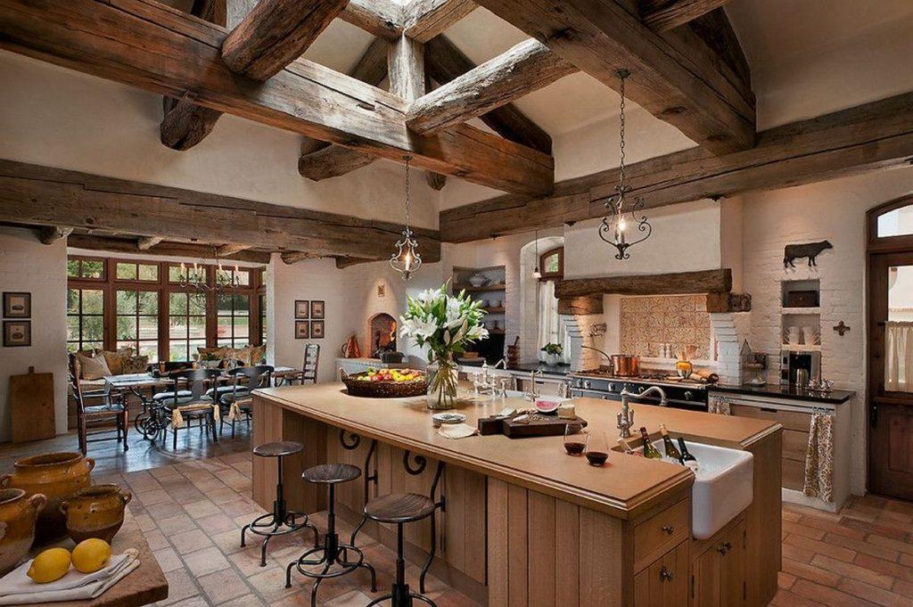 интерьер дома в стиле кантри кухня