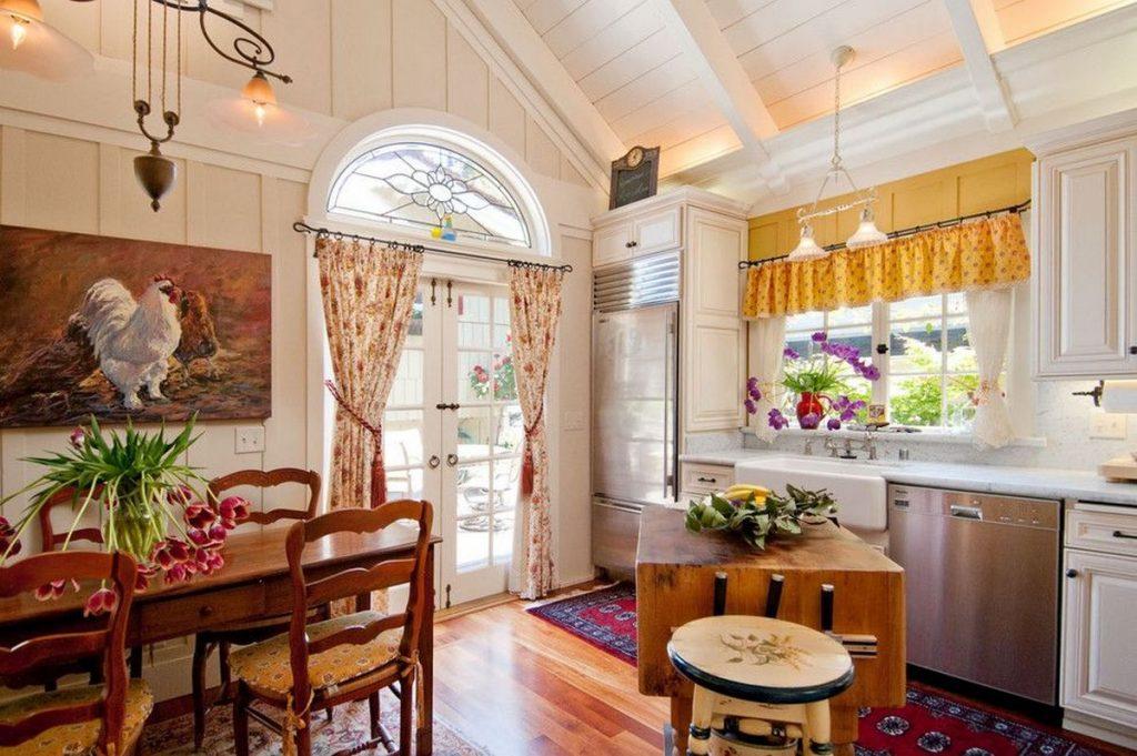 интерьер дома в стиле кантри кухня дизайн
