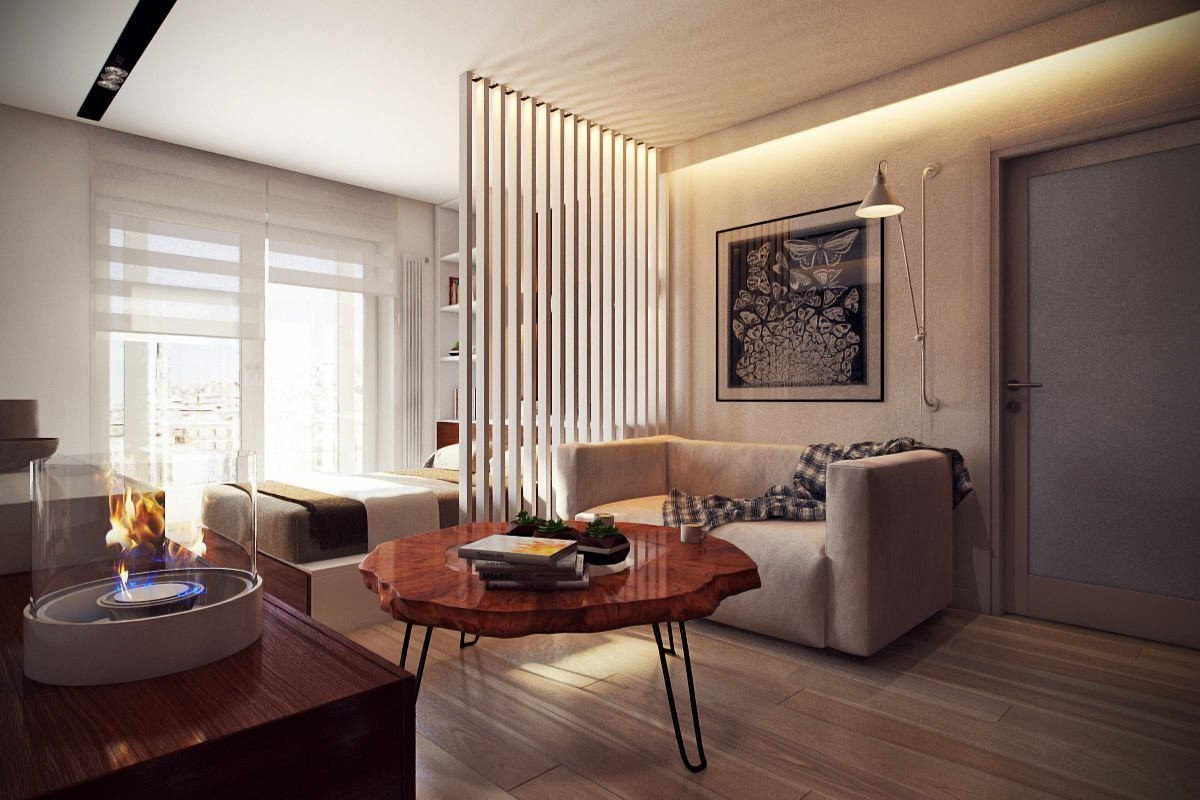 из однушки в двушку стильный декор деревянные рейки