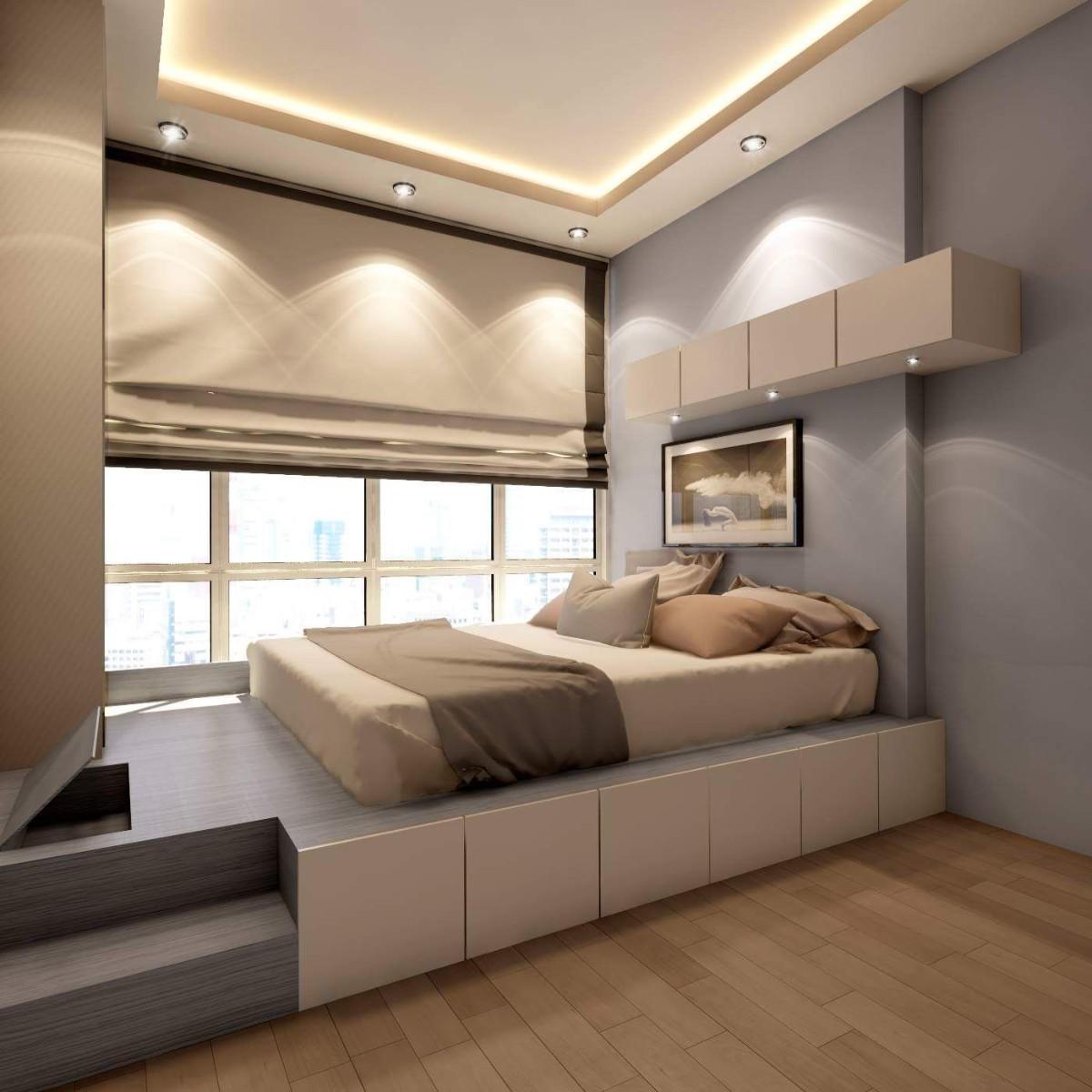 из однушки в двушку зонирование кровать у окна