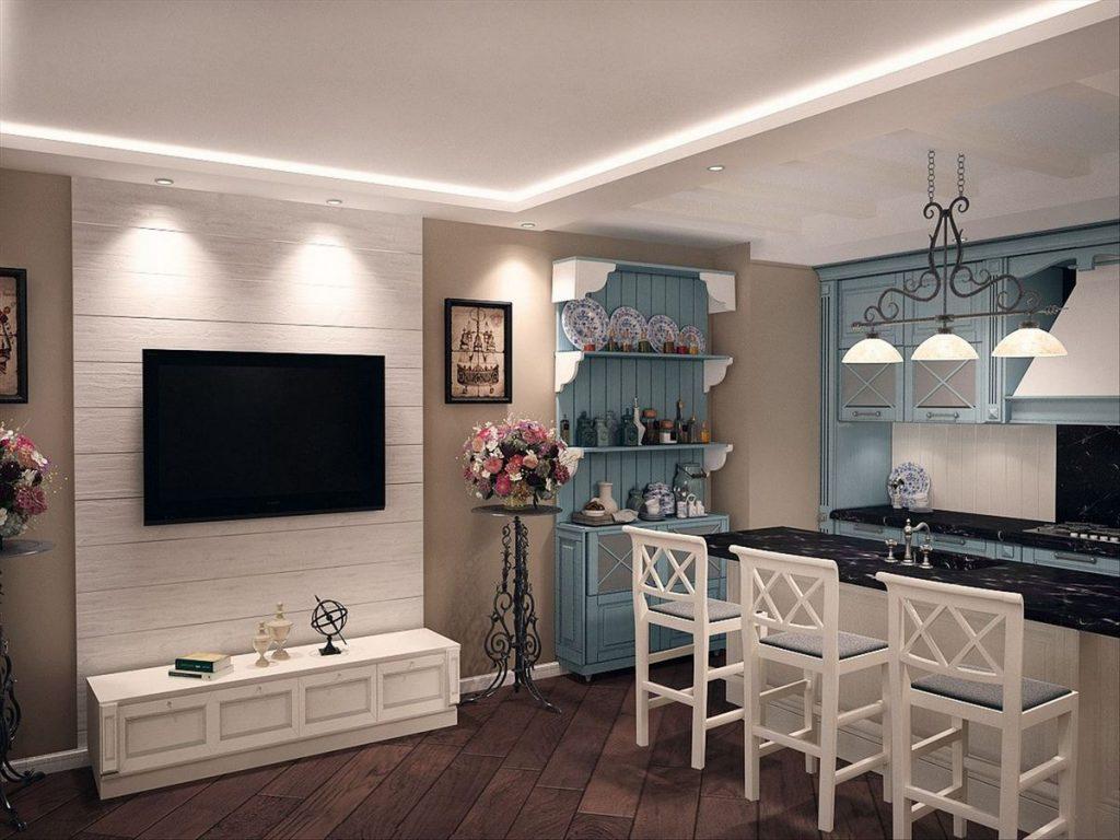 кухня 12 кв м с телевизором